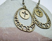 Brass Cross earrings - Christmas gift for her - gift under 20 - gifts for women - SOA - Gemma earrings - holiday jewelry