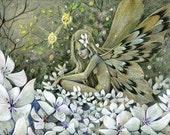 Moon Blossom, 8x10, A4, 5x7 inch archival print, whimiscal flower fairy fantasy art