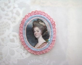 crocheted pink and baby blue cameo brooch - felt pin broach - lady portrait - nostalgic wearable art - victorian style brooch