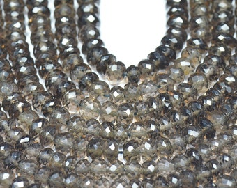 "SALE Smokey Quartz 6mm roundelle faceted beads 8.5"" line smk002"