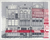 Screenprint of the McConnell Building on Main Street in Moscow, ID