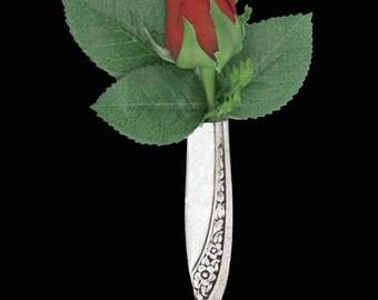 Groom Lapel Pin Vase - Tussie Mussie - Starlight Rose 1953 Tussie Mussie, Groomsman Boutonniere Lapel Vase Pin, Silverware Jewelry