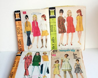 SALE: LOT of 4 Vintage Sewing Patterns - Simplicity & McCall's - Juniors Pre-Teen Sizes 8