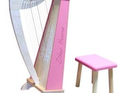 Zither Heaven 15-String Maple/Pink Harp with Bench HRP15-MP