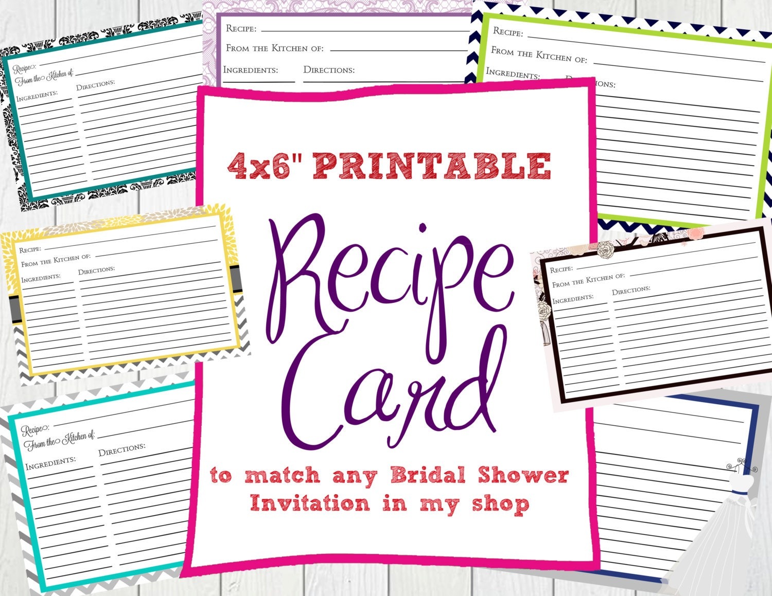 Postcard Wedding Shower Invitations: Recipe Card To Match Bridal Shower Invitation