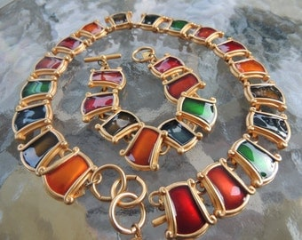 Ann Klein enamel necklace and bracelet       VJSE