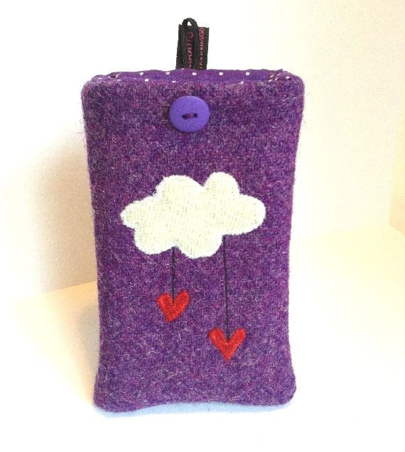 SALE - iPhone 4, 4S, 5, 5S, SE phone case, cloud with raining hearts, purple Harris Tweed, embroidered cover