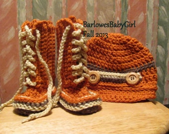 Buggs -   Crochet Lace Up Baby Booties and Newsboy Cap in Pumpkin, Taupe, and Cream -