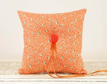 Orange Ring Bearer Pillow with Aqua Bird Accents