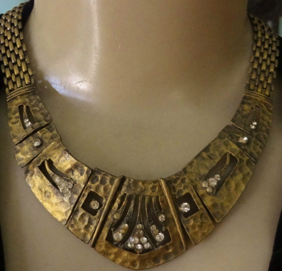 Arts and Crafts brass necklace Nouveau collar hammered brass rhinestones collar deco collar