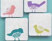 Wall Art Large Lace Bird Sweet Tweets Motif Stencil Set B for DIY Wall Decor or Painted Furniture Designs