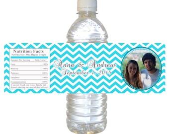 Turquoise Chevron Bridal Shower Water Bottle Labels Wrappers - Wedding Engagement Bottle Labels Photo Bottle Labels Printable Custom