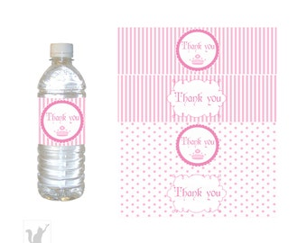 INSTANT DOWNLOAD Pink Princess Party Thank You Water Bottle Label Wrappers - Party Favors Baby Shower Favor Birthday Favor Stripes Polka Dot