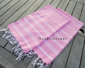 Turkishtowel-Set of 2-High Quality,Hand Woven,Pure Cotton,Hand,Head,Tea,Dish,Kitchen Towel or Unisex Neckwarmer-White stripes on Pink