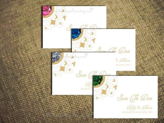 PRECIOUS GEM Wedding Save The Date Card Custom Pdf DIY Printable Invitation Set Elegant Classic Vintage Ruby Diamond Emerald Sapphire Pearl
