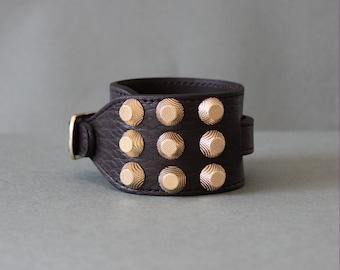 Soft Cowhide Bracelet with Giant Gold Stud(Dark Brown)