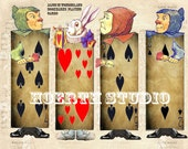 Alice in wonderland bookmarks playing cards sticker Labels or tags printable  alice Party supplies  Tea Party