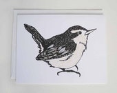 Bird Note Card - Wren Drawing - My Friend Wren on White - A2 - Blank