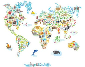 MEDIUM SIZED Iconic Cultural World Map Eco-Friendly Reusable Fabric Wall Decals by Pop & Lolli