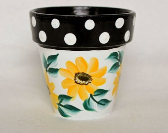 Hand Painted Flower Pot, Sunflower and Polka Dot