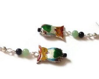 Gemstone Owl Earrings