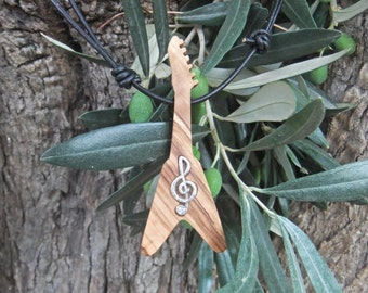 Guitar Flying V pendant, inlaid with silver treble clef, hand made from olive wood