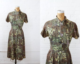 1960s Dress - 60s Dress - Bird Feather Print Shirtwaist Dress