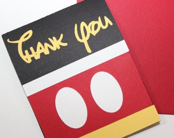 Handmade Mickey Mouse Thank You Card - For Birthdays, Baby Showers