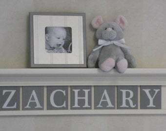 Gray Nursery Baby Boy Wall Decor (Bright White) or (Off White) Shelf - Sign with Wood Letters Custom for Baby Boy Room