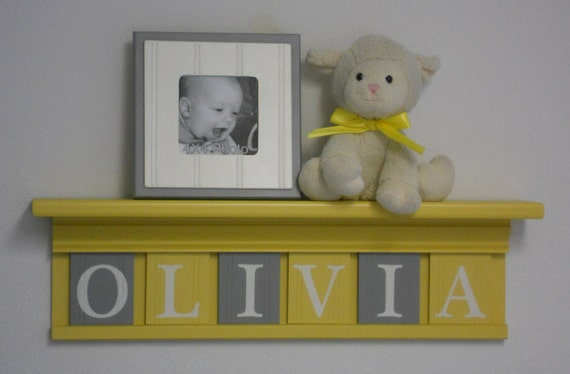 """Yellow and Gray Nursery Wall Art - Yellow Baby Girl Nursery Decor - Custom for OLIVIA - Personalized 24"""" Wood Shelf 6 Wooden Wall Letters"""