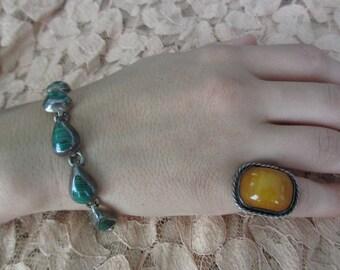 Huge Vintage Agate Jasper Sterling Silver Ring 6 1/4