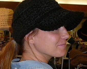 CROCHET PATTERN: Winter Baseball Hat Cap, Women's Black Cap Crochet Pattern