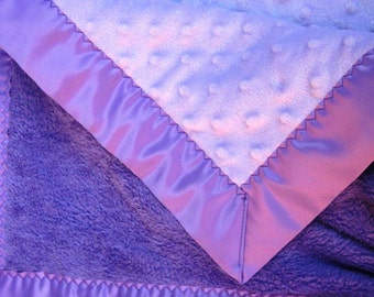 Purple and Lavendar Stroller Blanket - Royal PurpleFleece with Lavendar Minky and Satin Binding