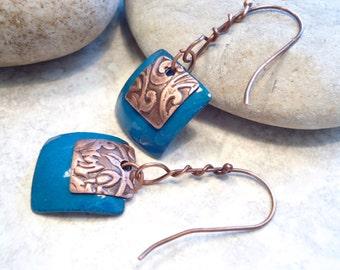 Torch Fired Enamel Copper Embossed Dangle Peacock Blue Earrings