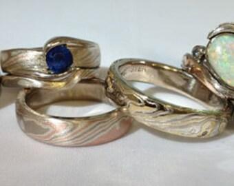 Custom created mokume gane rings your design ideas welcome