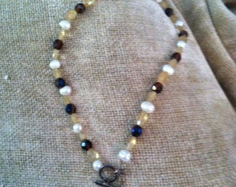 "Citrine, Topaz and Freshwater Pearl Necklace with ""Follow Your Heart"" Pewter Pendant"