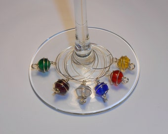 Colorful Wire-Wrapped Glass Beads Wine Charms - Set of 6