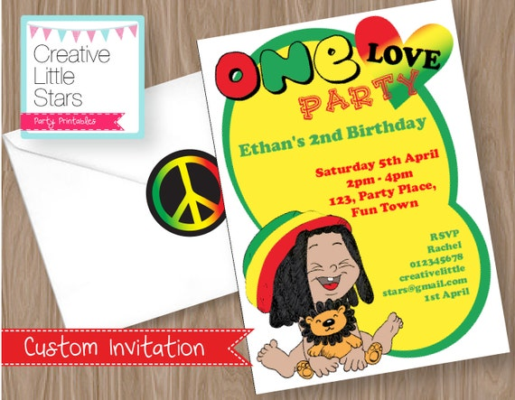 rasta one love Invitation Editable Instant by CreativeLittleStars