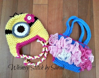 Girl Minion Outfit -- Photo Prop Set -- Hat, Diaper Cover/ Overall Suspenders -- Made to Order