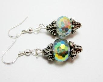 Green Bubble Earrings, Aurora Borealis Beads, Green Glass Earrings, Rainbow Earrings, Shiny Sparkle Jewelry 306