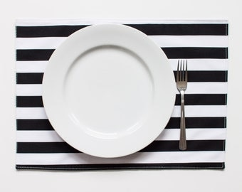 Double Sided, Eco-Friendly Place Mat - Set of 2 - (M_Stripe Black)