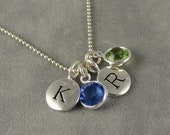 Custom Two Initial Birthstone Necklace - Silver Personalized - Mom Necklace - Couples Necklace