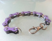 Bike Bicycle Chain Bracelet Purple and Silver Two-Tone - BCPUSL