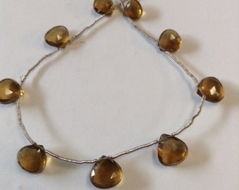 Whiskey Quartz Faceted Briolettes-Graduated