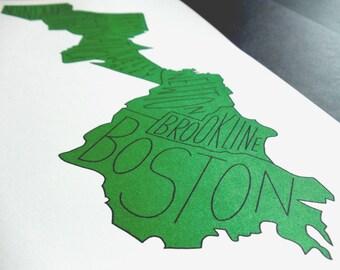 """Boston Marathon Route Map Typography Print (9"""" x 16"""")"""