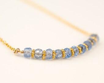 Swiss Blue Topaz Necklace - December Birthstone - Gold Necklace - Wire wrapped Necklace - Minimalist Jewelry