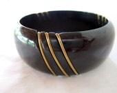 mid century modern black bakelite & wire bangle