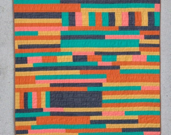 Hattie Butner throw quilt  | improv modern quilt yellow orange navy blue teal pink striped handmade homemade cotton throw quilt Copy