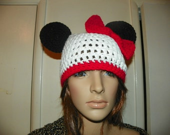 Minnie Mouse Hat  with a Red Trim and  Bow or Sizes 03-Adult Large
