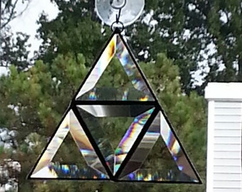 Stained Glass Bevel Triangle Suncatcher